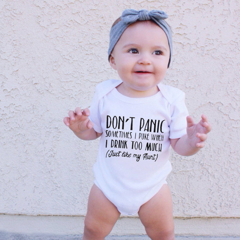 Newborn Baby Cotton Romper Don't Panic Sometimes I Puke When I Drink Too Much Just Like My Aunt Print Funny Infant Cute Jumpsuit