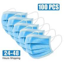 100 個 3 層不織布使い捨てマスクフェイスマスクアンチダスト mascherine 抗菌口フィルター使い捨てマスク