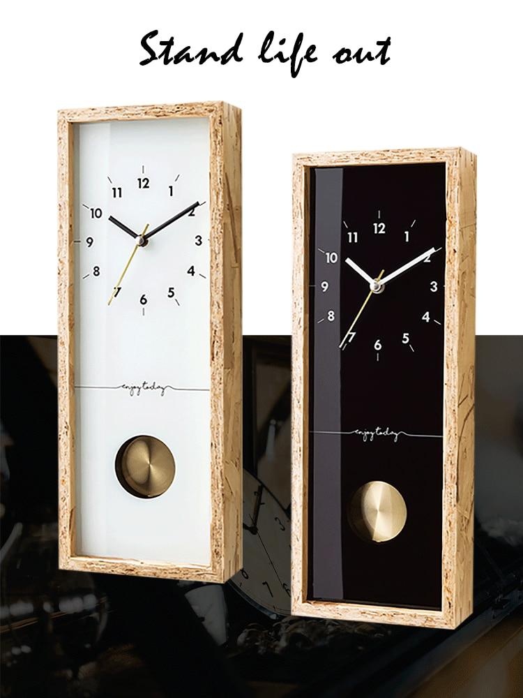 Nordic Retro Wall Clock Wooden Simple Living Room Bedroom Creative Wall Clocks Pendulum Relojes Madera Pared Home Decor DD50WC