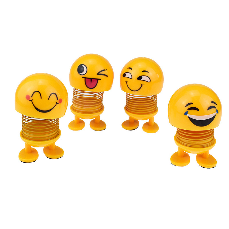 Funny Cute Auto Shaking Head Nodding Toys For Cars Ornaments Action Figure Emoji Emotion Face Expression Doll Adult Man Girls