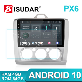 ISUDAR PX6 Car Multimedia Player 1 Din Android 10 Car Radio For Ford/Focus 2 Mk 2 2004-2008 2009-2011 GPS Auto Stereo System DSP автомобильный dvd плеер isudar 2 din 7 dvd ford mondeo s max focus 2 2008 2011 3g gps bt tv 1080p ipod