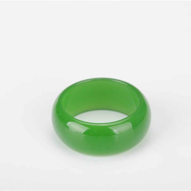 สีเขียวธรรมชาติ Hetian หยกแหวนจีน Jadeite Amulet แฟชั่น Charm เครื่องประดับแกะสลักงานฝีมือของขวัญสำหรับผู้หญิงผู้ชาย