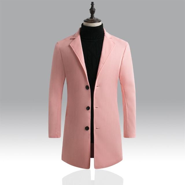 Autumn Winter Mens Brand Fleece blends Jacket Male Overcoat Casual Solid Slim collar coats Long cotton trench coat Streetwear 2