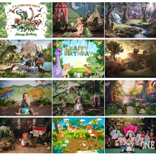 Dianosour子供1st誕生日写真の背景ケーキスマッシュジャングルサファリ動物背景の男の子パーティー小道具photostudio