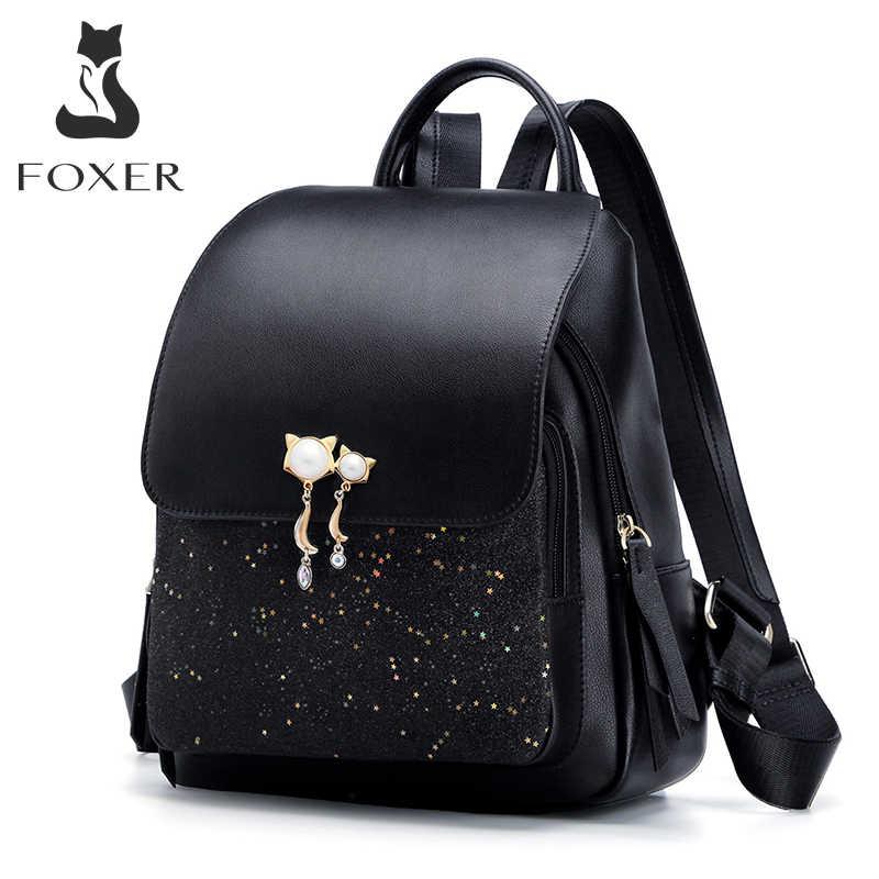 FOXER 브랜드 여성 패치 워크 지퍼 대용량 배낭 새로운 디자인 여성 대학 가방 십대 소녀 학교 어깨 가방
