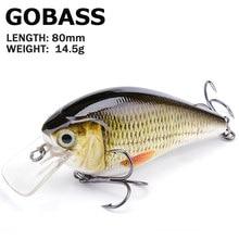 Gobass wobblers minnow isca para baixo equipamento de pesca 14.5g 80mm chocalho iscas crankbait isca de pesca para pique isca artificial