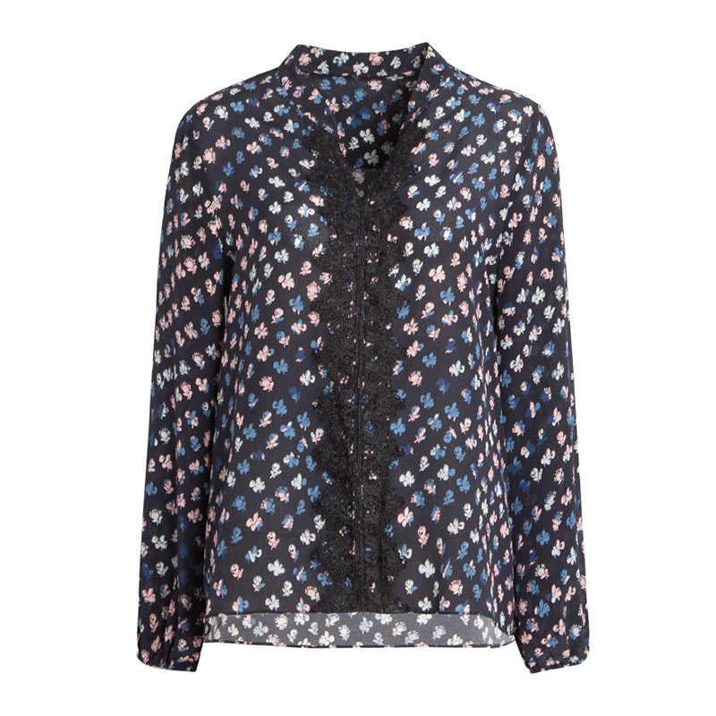 女性ブラウス 100% リアルシルククレープ印刷ブラウスシャツレース V ネックオフィスレディブラウス 2019 秋冬 Ol シャツ