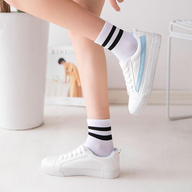 Women Socks Cotton White Black With Two Striped Cute Cozy Soft Colorful Harajuku Kawaii Fashion Warm Girls Ankle Socks Women