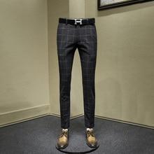 60% шерстяные мужские брюки серые клетчатые мужские уличные тонкие Умные повседневные Костюмы Брюки Офисные деловые мужские брюки осень зима