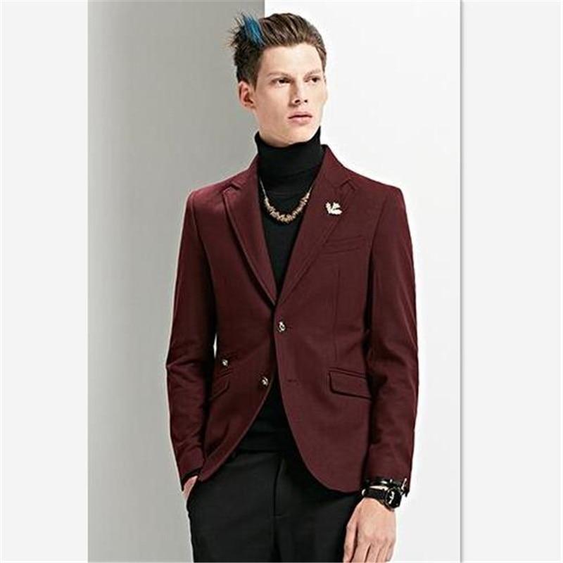 Men's Suits (Jacket+Pants) New Wine Red Men Suit Smart Business Suit Casual For Stage Show Blazers Custom Men Suit Slim Fit