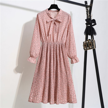 Spring Autumn Women Chiffon Print Dress Long Sleeve Vintage Bow Collar Floral Dresses Female Causal Thick Ruffles Pleated Dress new chiffon summer dress women spring floral long sleeve v neck elastic waist sashes dress vintage pleated holiday vestidos