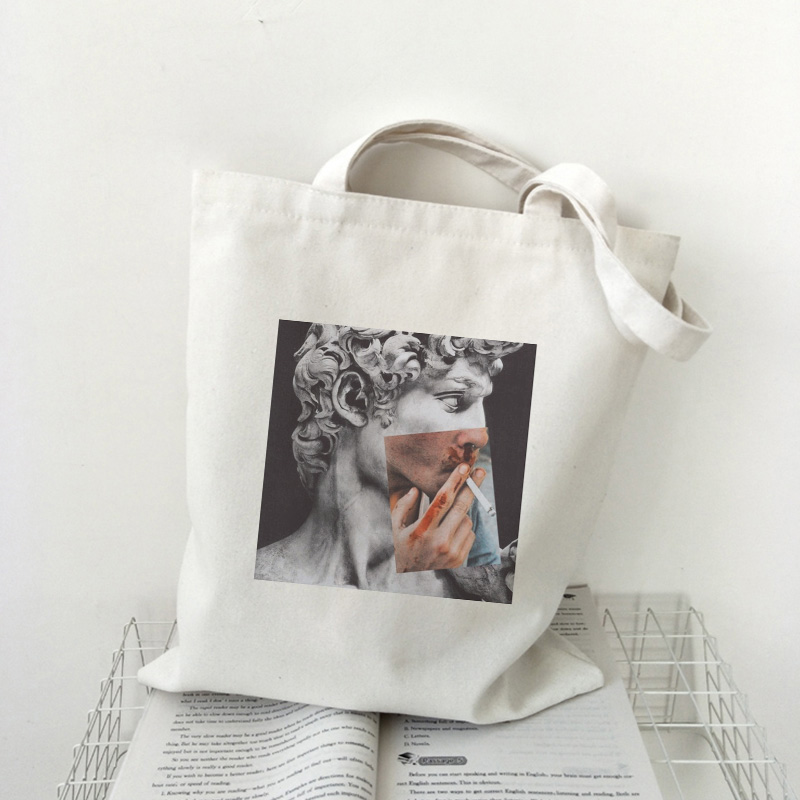 David Michelangelo Oil Painting Shoulder Bags Aesthetics Vogue Harajuku Vintage Large Shopping Bag Fun Ulzzang Women Bag Wallet