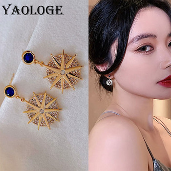 YAOLOGE Bright Wedding Party Jewelry Accessories Astrolabe Golden Earrings Round Small Pendant Elegant Earrings For Women image