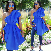 VAZN KEN21245 New High end 2019 Fashion Hot Sexy Party Blue Short Sleeve One Off Shoulder Lace Up Open Women Irregular Long Tees