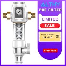 ALTHY Central Pre filter Whole House Water Purifier System 40um Real Backwash 3T/h Large Flow Pressure gauge monitor Pre-filter h filter design