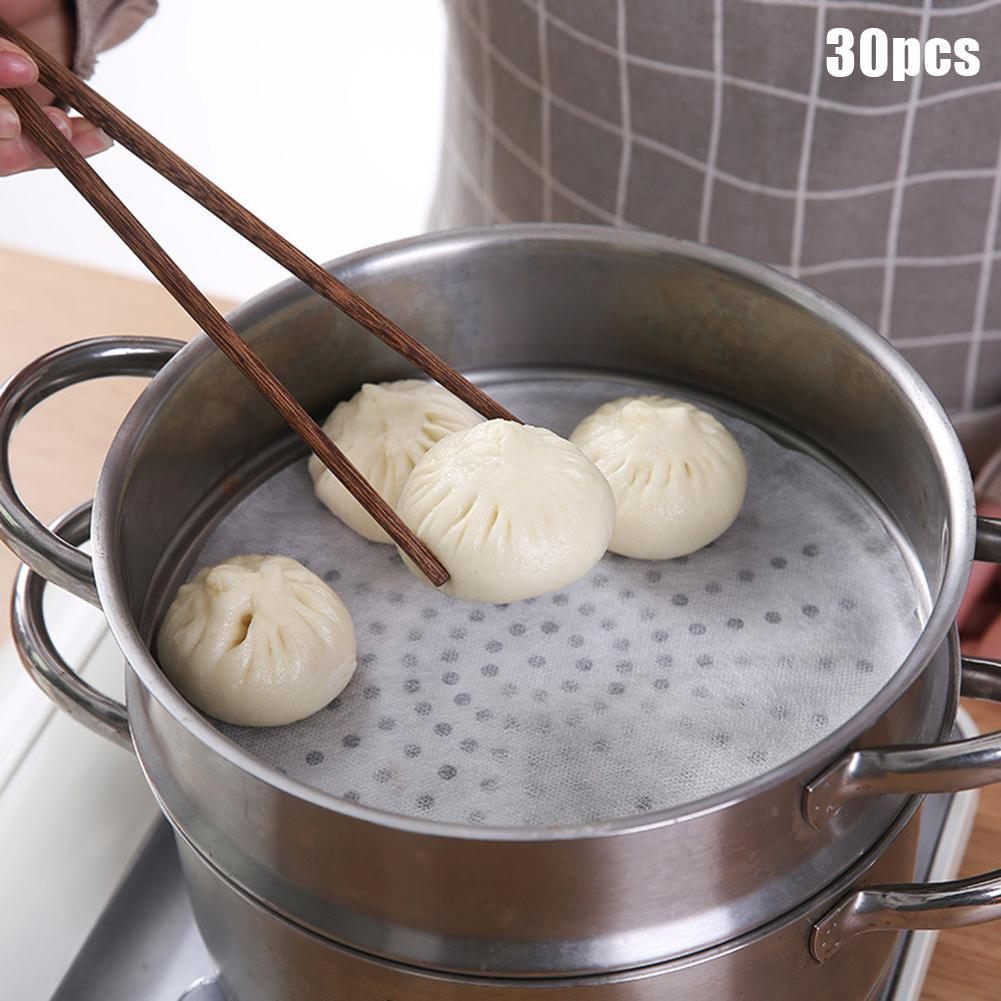 30Pcs Kitchen Disposable Non-stick Steamer Bun Paper Dumplings Pad Cooking Tool