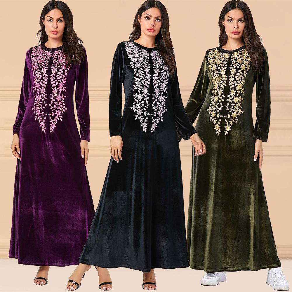 Dubai Velvet Abayas For Women Muslim Abaya Turkish Dresses Burkini Islamic Clothing Bangladesh Arabic Caftan Marocain Djellaba