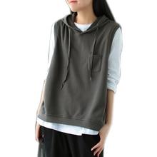 Sweatshirt Hooded Spring Female Fashion Casual Woman Sleeveless Solid for Autumn Big