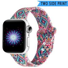 Soft Sport Silicone Band For Apple Watch 42mm 38mm 40mm 44mm Double Side Print Flowers Strap iwatch Series 1 2 3 4