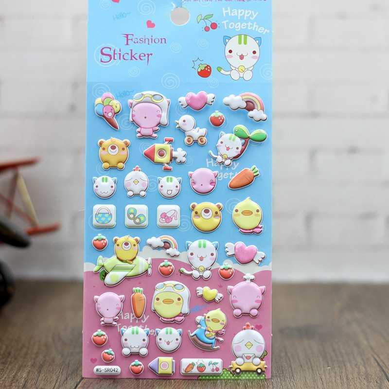 Объемные наклейки милые Мультяшные Игрушки для девочек детские дневники скрапбукинги игрушки 3D Кот каваи награда животных выпуклые наклейки игрушки подарки