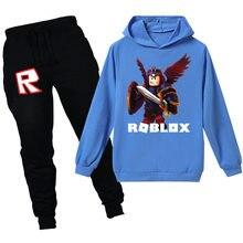 3-16years conjuntos de roupas infantis robloxing hoodies + calças terno camisola adolescentes meninas meninos roupas primavera anime brinquedos