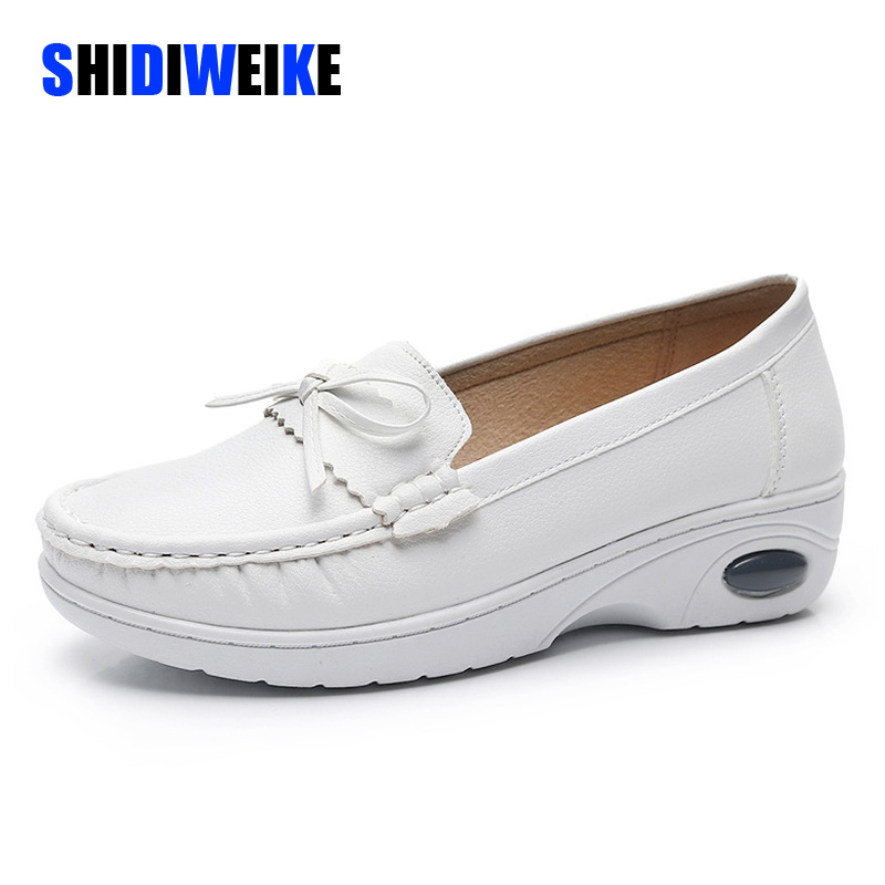 New Women White Nurse Shoes Woman Platform Soft Comfortable Air Cushion Casual PU Leather Antiskid Shoes Flats I265