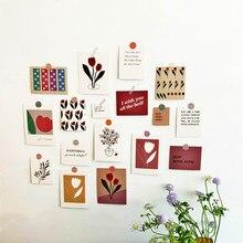 17 Uds. De tarjetas de decoración de tulipán postal artística estilo Simple flores DIY pegatina de pared utilería fotográfica Fondo artículos de papelería para Decoración