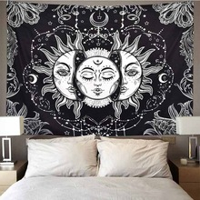 Mandala Tapestry Blanket Wall-Rugs Dorm-Decor Sun-And-Moon Black White 95x73cm Gossip