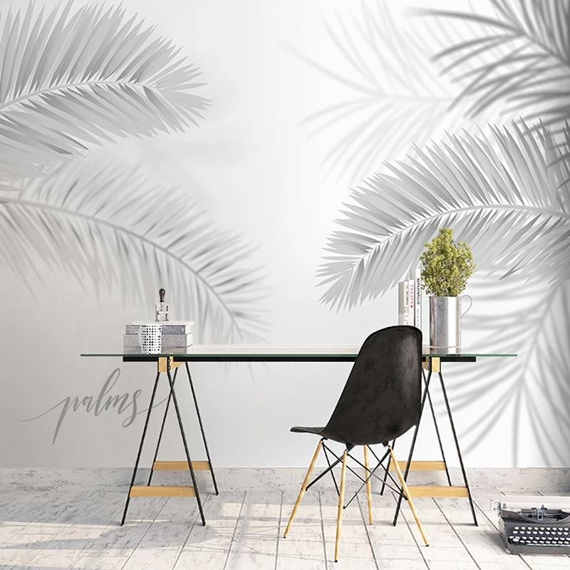 Custom 3D Mural Wallpaper Modern Black White Hand Painted Leaves Art Wall Painting For Living Room Dining Room Bedroom Backdrop