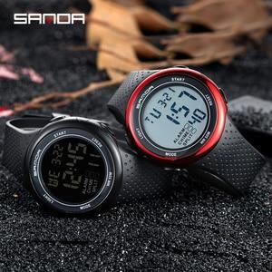 Image 1 - עמיד למים הדיגיטלי שעון מעורר גברים שעון תאריך שבוע תצוגת ספורט אלקטרוני שעונים Luminacence מצבי relogio masculino SANDA