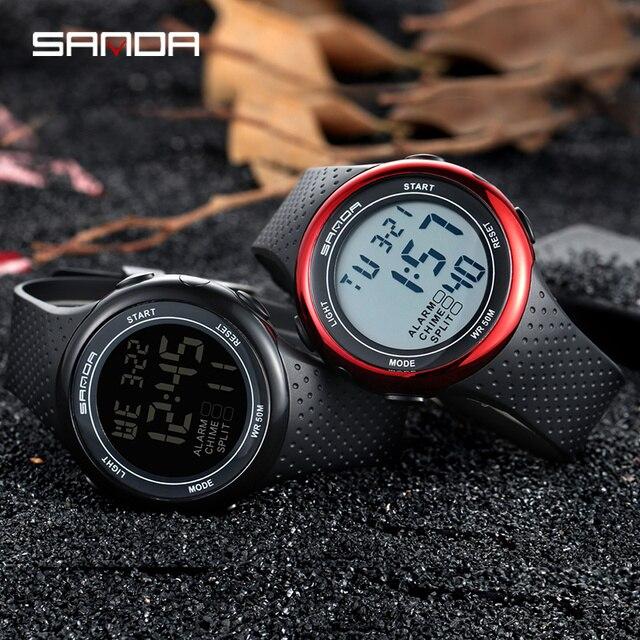 Su geçirmez dijital saat erkekler alarmı saat tarih hafta ekran spor elektronik saatler Luminacence modları relogio masculino SANDA