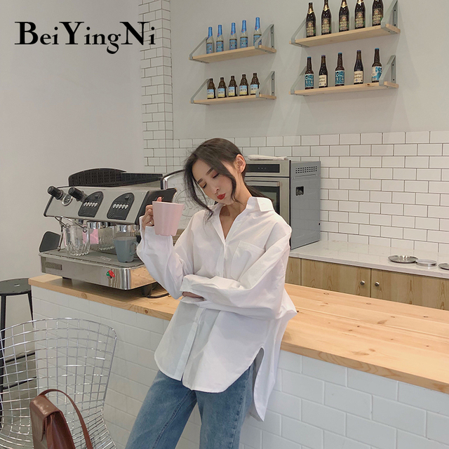 Beiyingni 2020 Spring Autumn Women Shirts White Plain Loose Oversized Blouses Female Tops Loose BF Korean Style Blusas Pockets 5