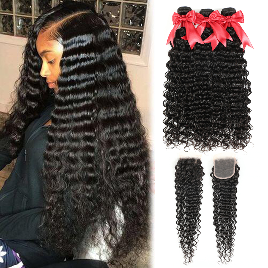 Deep Wave Bundles With Closure 4x4 5x5 6x6 Closure With 30 Inch Bundles Malaysian Hair Weaves Bundles Remy Human Hair Extensions
