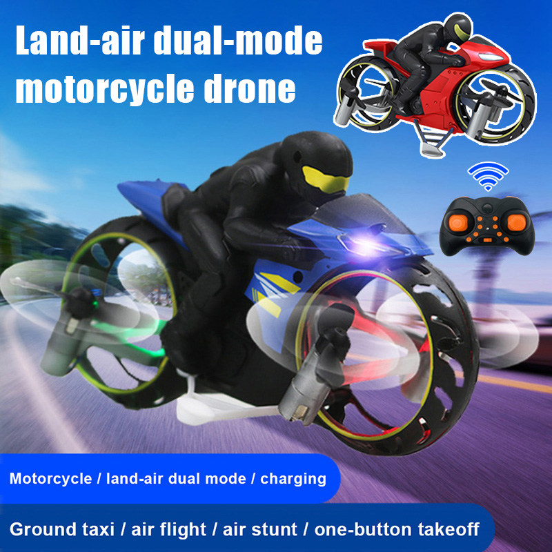 High Quality RC Motorcycle Amphibious Remote Control Four-Axle UAV One Key Roll Light Aircraft Model