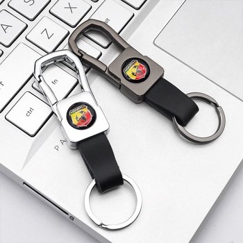 Car key chain metallic leather style Mini logo fashion pendant Business key chain for Abarth- 500 595 1100 Stilo Ducato Palio image