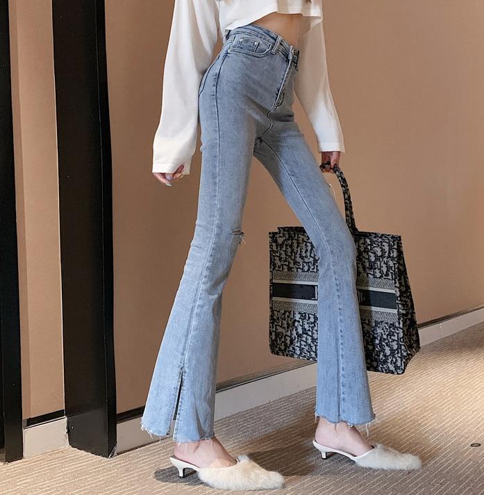 2020 frühling mode frauen hohe taille denim jeans gerade jeans seite split jeans retro weibliche lange capri hosen
