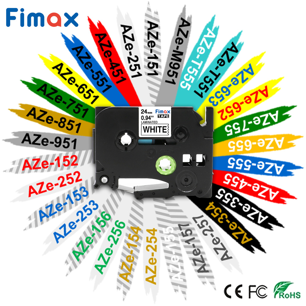 Fimax 1 Pack TZe651 TZe-251 TZE-451 24mm Compatible Brother P-touch Label Maker TZe-651 Black On Yellow TZe-151 TZe-251 Tze-551