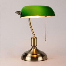Высококачественная роскошная вилла Ретро Настольная лампа из зеленого стекла американская креативная декоративная настольная лампа светодиодный светильник для чтения глаз