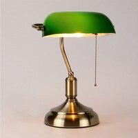יוקרה באיכות גבוהה וילה רטרו שולחן מנורת ירוק זכוכית האמריקאי creative דקורטיבי שולחן מנורת LED קריאת מנורת הגנה על העין