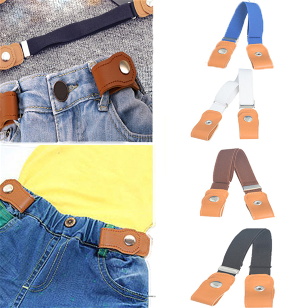 Easy Belt Without Buckle For Jean Pants Comfortable Hidden Invisible Waist Bands No Bulge Hassle Adjustable Button Canvas Girdle