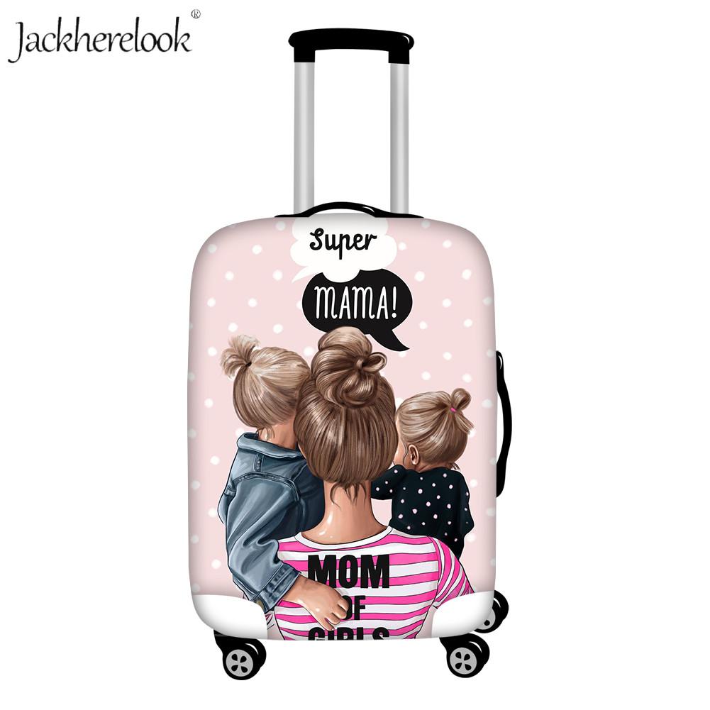 Jackherelook Super Mom Luggage Cover Mother's Love Print Travel Suitcase Cover Dust Proof Baggage Case Cover Elastic Trolley Bag