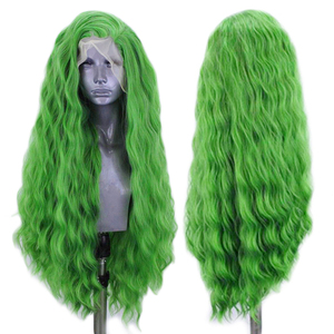 Image 2 - כריזמה עמוק גל פאת צד חלק תחרה סינתטית עמידות בחום סיבי שיער ירוק פאות עבור נשים טבעי קו שיער