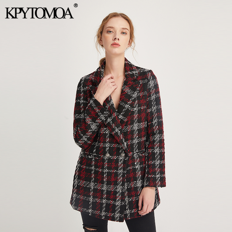 Vintage Stylish Office Lady Plaid Double Breasted Tweed Blazer Coat Women 2019 Fashion Long Sleeve Pockets Outerwear Chic Tops