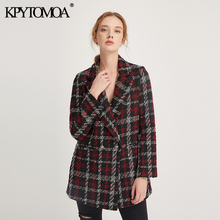 Vintage Stylish Office Lady Plaid Double Breasted Tweed Blazer Coat Women 2020 F