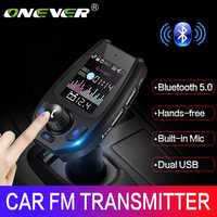 Onever Bluetooth 5.0 5V3.1A FM Transmitter Bluetooth Adapter Battery Voltage Double USB charger with Voice Prompts Modulator NEW