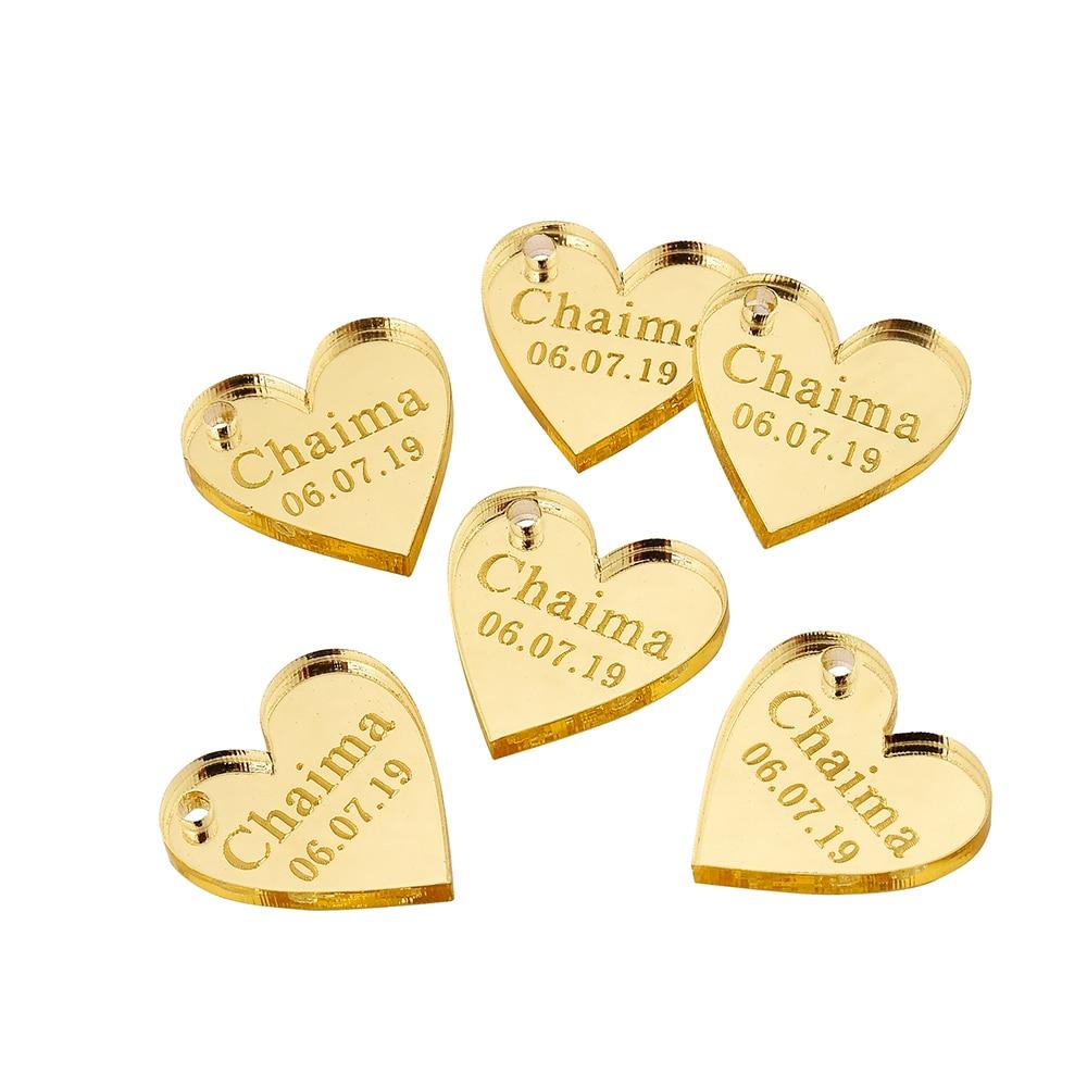 Mirror Gold Love Heart Wedding Tags