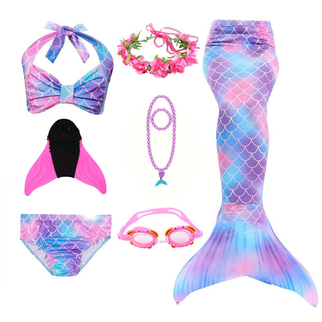 Mermaid Bathing Suit Tail Dress Costume Girl Children Swimming Monofin with Mermaid Tails Girl Sexy Swimsuit Christmas Cosplay