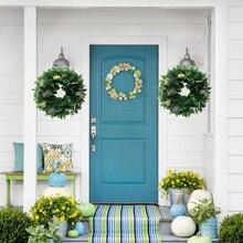 35 см искусственные зеленые листья венок на дверь стене висит окна Свадебный декор для вечеринки Рождества искусственные цветочные украшения