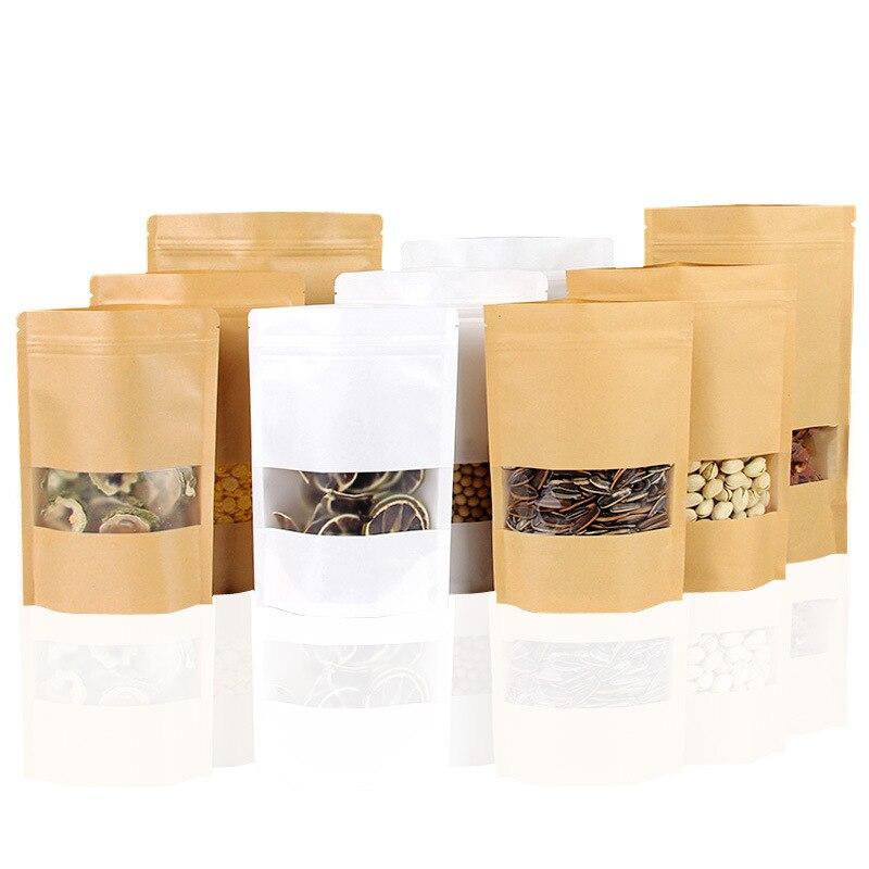 20pcs New Diy Multi-size Window Kraft Paper Bag Tea Nut Packing Bag Kraft Paper Self-sealing Bag Dry Fruit Sealed Bag Food Bag