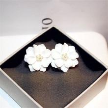 CX-Shirling New Fashion Camellia Flower Earring Big Size White Rose Earrings Women Jewelry Bijoux Elegant Gift